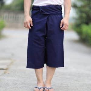 20010 กางเกงสดอม่อฮ่อม ขาสามส่วนสี่ส่วน แบบเชือกผูก