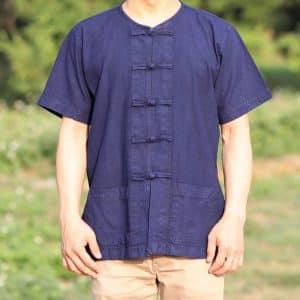 เสื้อม่อฮ่อมคอกลมกระดุมจีนแขนสั้น
