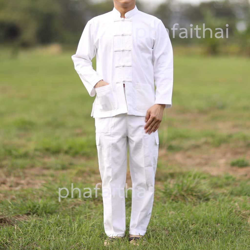 10006 กางเกงผ้าฝ้ายขายาวสีขาว แบบเอวยืด มีเชือกผูก