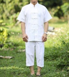 10005 กางเกงสีขาว ผ้าฝ้าย ขาสามส่วนสี่ส่วน แบบเอวยืดมีเชือกผูก