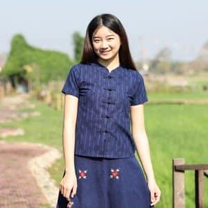 21007 เสื้อม่อฮ่อมผู้หญิง พิมพ์ลายทรงเข้ารูป กระดุมจีน ลายข้าว