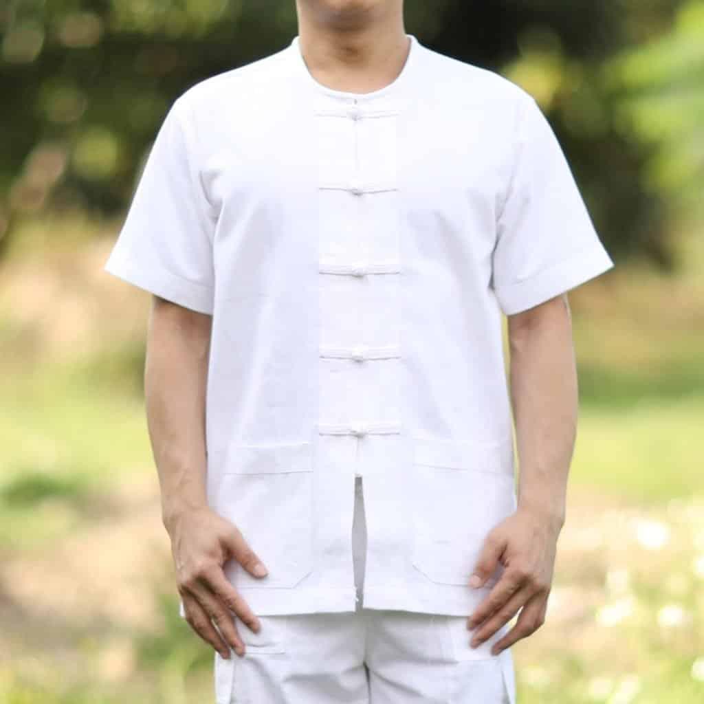10001 เสื้อผ้าฝ้ายชายสีขาว คอกลม กระดุมจีน แขนสั้น