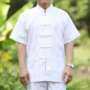 10002 เสื้อผ้าฝ้ายผู้ชายสีขาว คอจีน กระดุมจีน แขนสั้น
