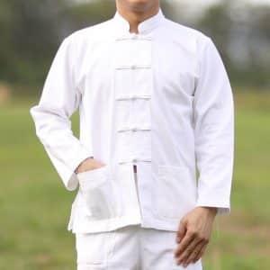 10004 เสื้อผ้าฝ้ายชายสีขาว คอจีน กระดุมจีน แขนยาว