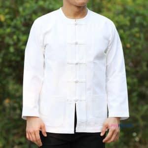 10003 เสื้อผ้าฝ้ายชายสีขาว คอกลม กระดุมจีน แขนยาว
