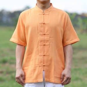 เสื้อผ้าฝ้ายผู้ชาย เนื้อดี คอจีนกระดุมจีน แขนสั้น สีส้ม