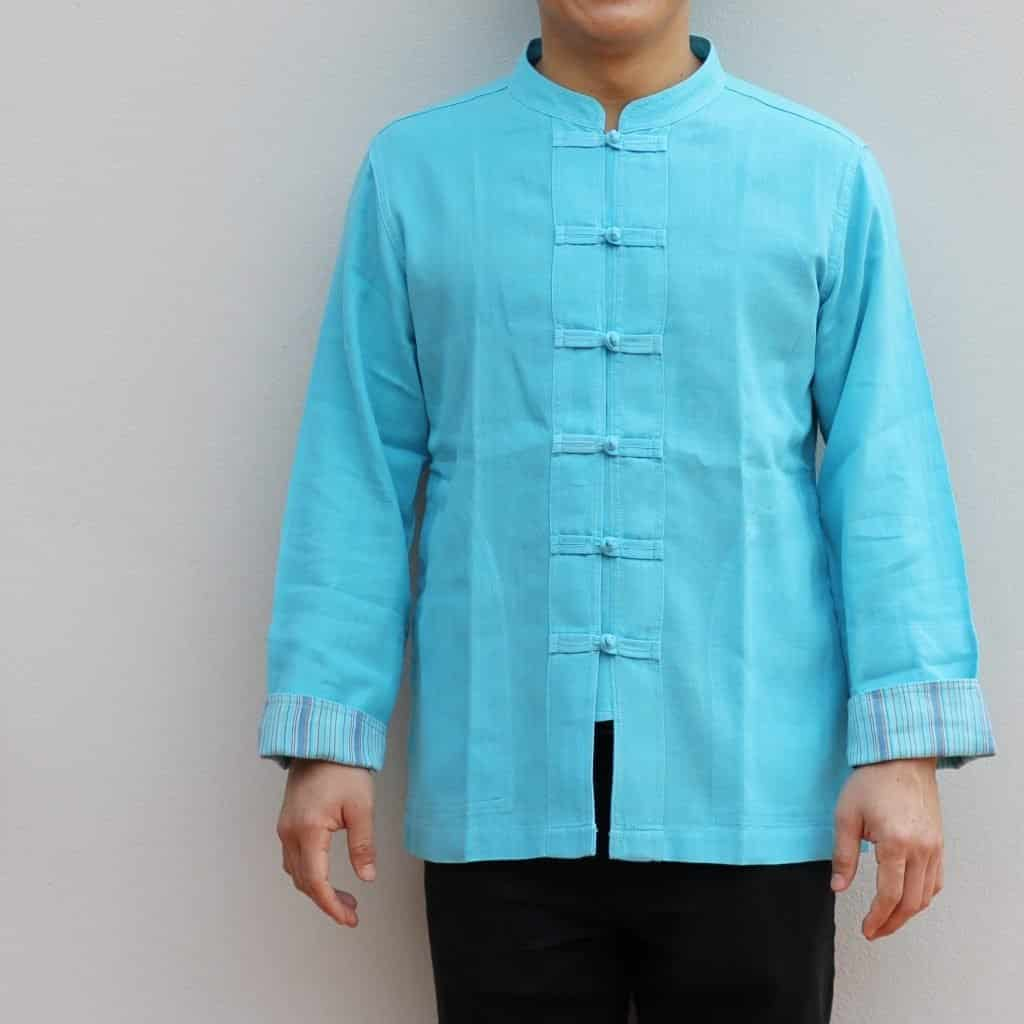เสื้อผ้าฝ้ายผู้ชาย เนื้อดี สีฟ้า