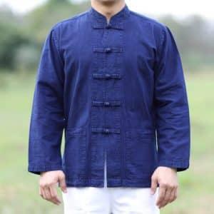 เสื้อม่อฮ่อมคอจีน กระดุมจีนแขนยาว