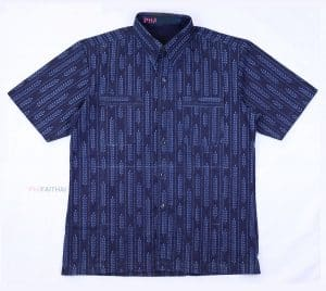 20020 เสื้อเชิ้ตม่อฮ่อมชาย พิมพ์ลาย แขนสั้น ลายข้าว