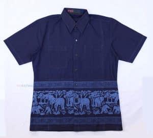 20018 เสื้อเชิ้ตม่อฮ่อมชาย พิมพ์ลาย แขนสั้น ลายชายช้าง