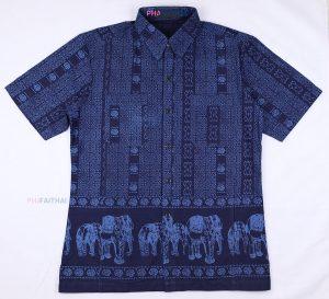 20017 เสื้อเชิ้ตม่อฮ่อมชาย พิมพ์ลาย แขนสั้น ลายช้างมีลายบน