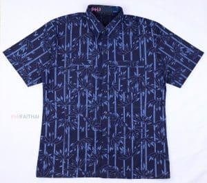 20016 เสื้อเชิ้ตม่อฮ่อมชาย พิมพ์ลาย แขนสั้น ลายไผ่