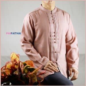 เสื้อผ้าฝ้ายผู้ชาย เนื้อดี คอจีนกระดุมจีน แขนยาว สีกะปิ