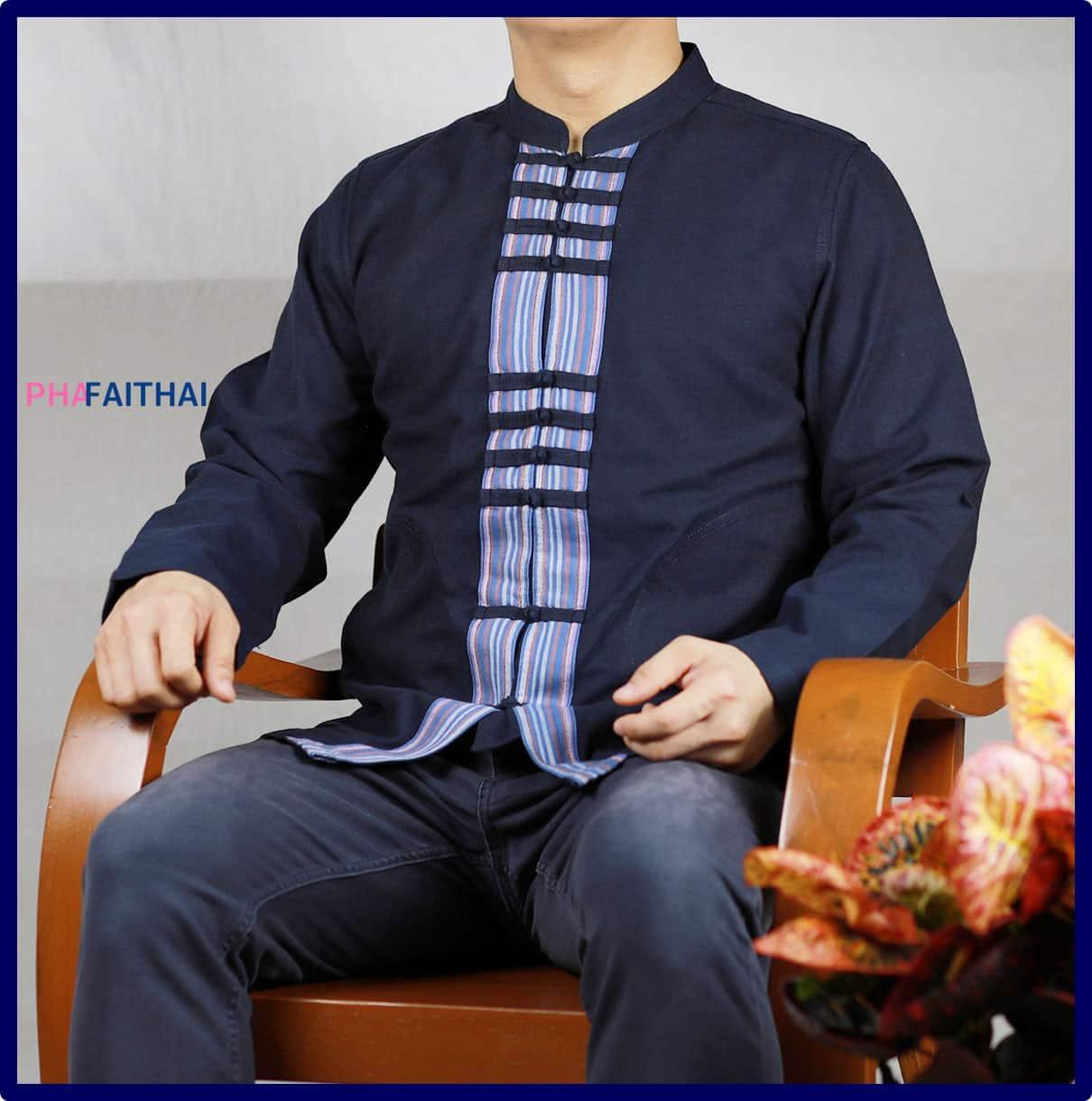 เสื้อผ้าฝ้ายผู้ชายเนื้อดี แขนยาว กระดุมจีน สีม่อฮ่อม