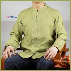 เสื้อผ้าฝ้ายผู้ชาย เนื้อดี คอจีนกระดุมจีน แขนยาว สีเขียว