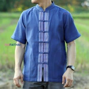 เสื้อผ้าฝ้ายผู้ชาย เนื้อดี คอจีนกระดุมจีน แขนสั้น สีคราม