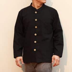 41203 เสื้อผ้าฝ้ายชายสีดำเนื้อผ้าชินมัย ตองชัย กระดุมเหรียญ แขนยาว