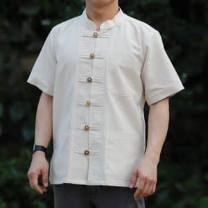 41001 เสื้อผ้าฝ้ายชายสีธรรมชาติเนื้อผ้าชินมัย ตองชัย กระดุมเหรียญ แขนสั้น