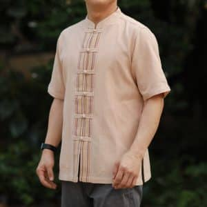 เสื้อผ้าฝ้ายพื้นเมืองผู้ชาย เนื้อดีสีเปลือกไม้