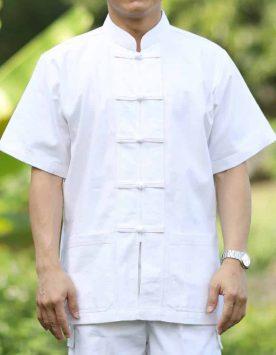 10002 เสื้อผ้าฝ้ายชายสีขาว คอจีน กระดุมจีน แขนสั้น
