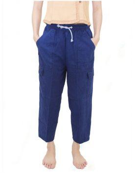 กางเกงม่อฮ่อม ขายาว แบบเอวยืดเชือกผูก