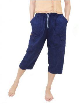 กางเกงม่อฮ่อม ขาสามสีส่วน แบบเอวยืดเชือกผูก