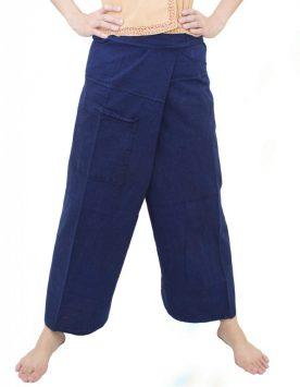 กางเกงขาก๊วยม่อฮ่อมยาว (กางเกงกี เตี่ยวโย่ง) ขายาว แบบเชือกผูก