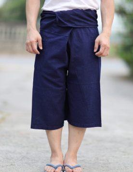 กางเกงขาก๊วยม่อฮ่อม (กางเกงสดอ) ขาสามส่วนสีส่วน แบบเชือกผูก